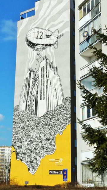 Väggmålning av Mariusz Waras, Zaspa ul. Pilotów 12