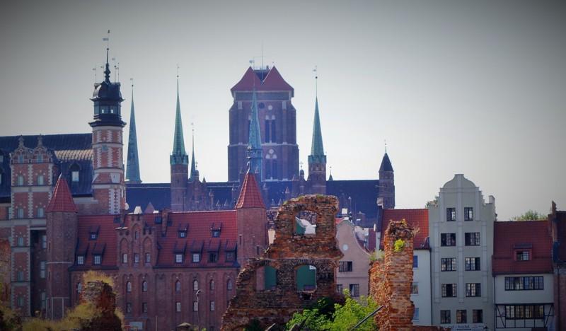 Gdansk - Centrala Staden sedd från östra sidan. Historiska resor till Polen – Hit The Road Travel