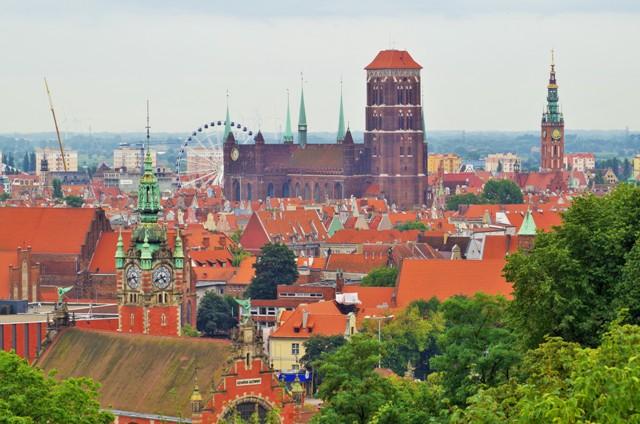 Gdansk - utsikt över Centrala Staden